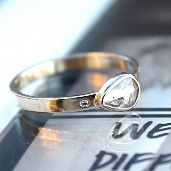 Diamond Engagement Ring - Rose Cut Diamond Slice - 18K White Gold