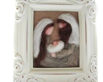 Nativity - Christmas Nativity - Felted Nativity - Nativity Fiber Art