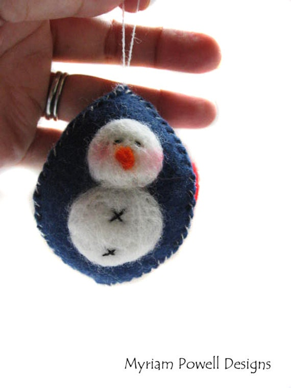 Snowman Ornament - Christmas Ornament - Holiday Ornament - Felted Snowman