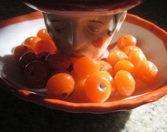 Clementine  Orange Fat Round  Glass Bead