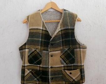 70s Plaid Vest / Sherpa Autumn Check