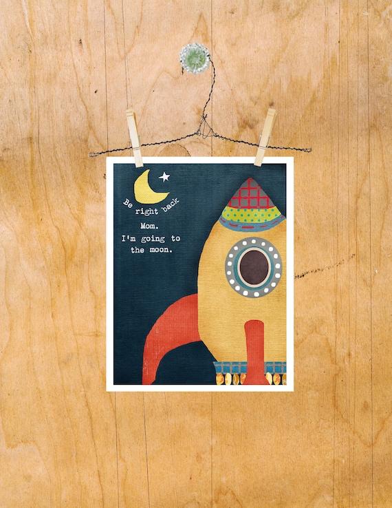 Space Art for Kids, Children's Wall Art Print, Rocket, Space, Stars, Boy Nursery Ideas, Rocketship Blue Boy Nursery Kids Room Decor