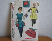 Vintage Simplicity Pattern 4492 Misses' And Women's Cobblers Apron, Half Apron And Pot Holder, Transfer Included  1950's