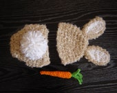 Bunny Set - Beanie and Diaper Cover Baby Photography Prop