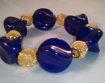 Purple and Gold Twist Mesh Bracelet Basketball Wives Inspired Poparazzi