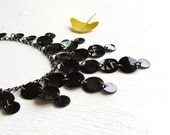 Sleek Black Shell Bib Necklace : Black Necklace, Art Deco Black Jewelry, Statement Necklace, Customized