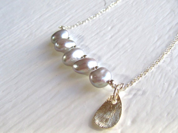 RESERVED for APRIL:  Lustrous Silver Gray Pearl Necklace