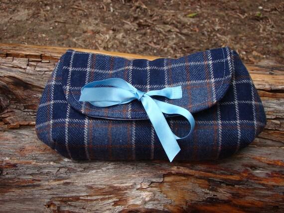 Navy Blue Tweed Clutch Purse, in a plaid print and a satin ribbon, Autumn Winter Clutch, Elegant Fabric Clutch Bag