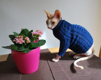 Hand-knitted long-sleeved sweater for small dogs or cats, pets clothing,sweater for sphynx,handmade sweater for pets