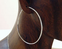 Ready to Ship, Silver Hoop Earrings, 2 1/2 inch Large Hammered Hoops, Gypsy Hoops, Large Hoop Earrings, Stocking Stuffer, Gift for Her, Love