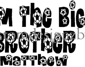 Big Brother soccer personalized iron on shirt decal transfer