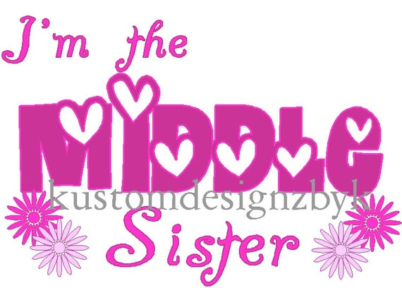 Middle Sister iron-on shirt decal NEW by kustomdesignzbyk