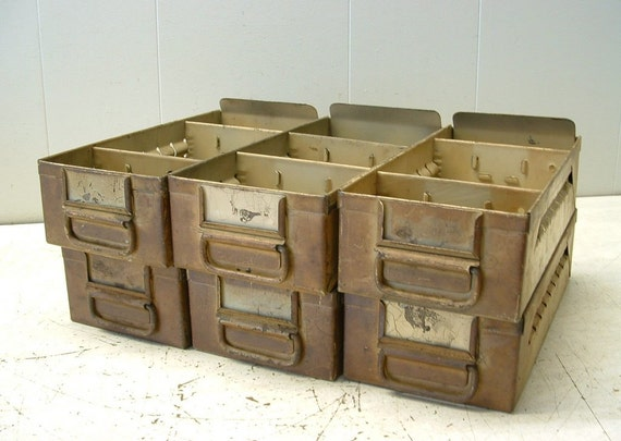 Lot of 6 Old Industrial Factory Machinist Tool Parts Storage Bin Drawers