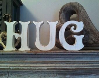 Handpainted Wooden Letters Letters - HUG - Victorian Font - 15cm