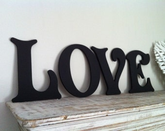 Victorian Decorative Wall Letters - Set of 4 - LOVE - 8 inches, wooden letters, any colour