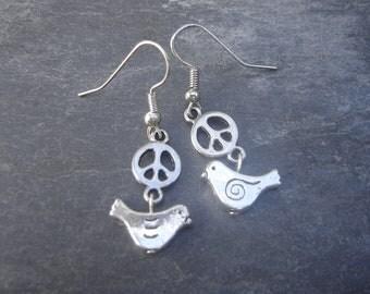 Silver Bird Peace Earrings