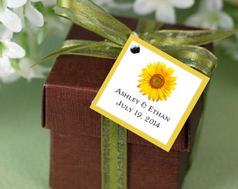 100 Sunflower Favor Tags.  Wedding favors