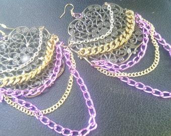 Gold Earrings, Chandelier Earrings, Tribal Earrings, Gold Earrings, Vintage Earrings, Statement Earrings, Chain Earrings, Spring Fashion