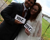 MR and MRS Chair Signs -Wedding Reception Signs -Wedding Decor- Chair Tags- Bride & Groom Tags- Photo Props /You Pick the colors