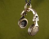 "Headphones Necklace Bronze Headphone Pendant on 24"" Gunmetal Chain - DJ Necklace"