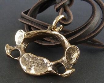Vertebrae Necklace Bronze Vertebra Pendant on Leather