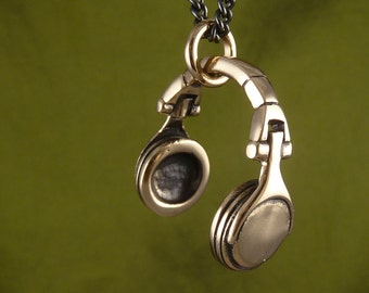 "Headphones Necklace Bronze Headphone Pendant on 24"" Gunmetal Chain - DJ Necklace"