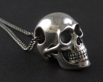 "Skull Necklace Sterling Silver Human Skull Pendant on 24"" Gunmetal Chain - The Silver Skull"