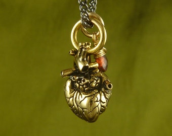 """Gold Anatomical Heart and Garnet Necklace - Small 24 Karat Gold Plated Anatomical Heart Pendant with Garnet on 24"""" Gunmetal Chain"""