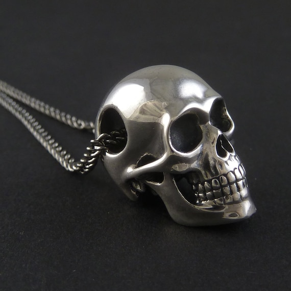 Skull Necklace Sterling Silver Human Skull Pendant On 24