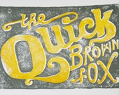 block print // QUICK BROWN FOX // hand-carved hand-printed 5 x 7 illustrated typography print