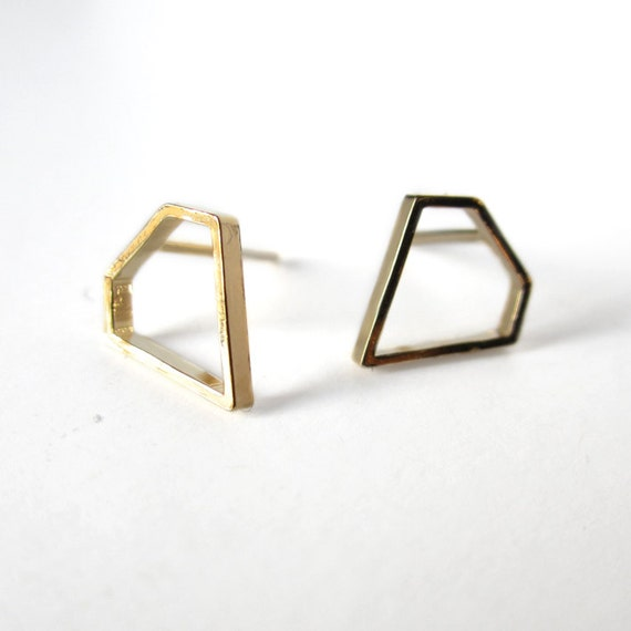 Tiny diamond gold filled earrings