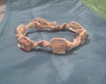 sUGaRcAnE white hemp bracelet with cane glass beads free ship to u.s.