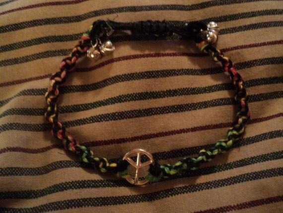 SALE:)rOoTs RoCK rEggaE...play some reggae music  black and rasta hemp peace bracelet with bells free ship to u.s.