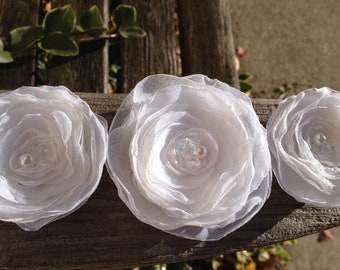 White or Ivory Chiffon Bridal Flowers with Pearl and Iridescent Accents choose Hairclips, Brooches, Bobbies or Appliques