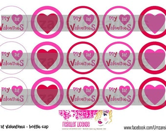 "15 My First Valentines Digital Download for 1"" Bottle Caps (4x6)"