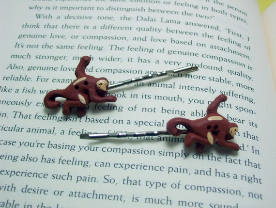Monkey Button Hair Pins, Button Jewelry, Monkey Hair Pins, Animal Jewelry