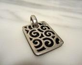 SALE Vintage Sterling Silver Black Glass Swirl Pendant