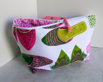 Make Up Cosmetic Bag Zipper Pouch Pink and White Fun Shoe Motiff