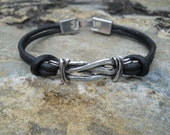 Mens Black Leather and Silver Knot Link Bracelet