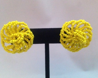Vintage Bright Yellow Glass Beaded Screwback Earrings 1""