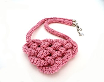 SALE - Pink Knot Nautical Crocheted Rope Satetement Necklace