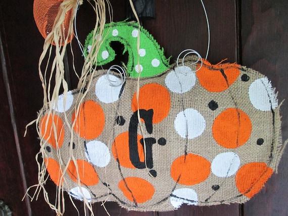 Burlap Pumpkin with Single Initial Burlap Door Hanger Fall