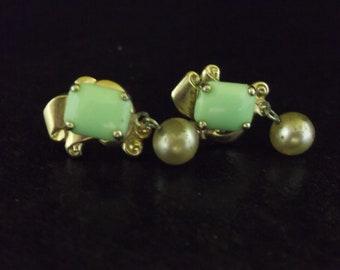 Jade Color Clip On Earrings - Clip On Jade Color Earrings - Jade Color Costume Jewelry