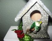 Handmade Glitter Birdhouse Christmas Ornament