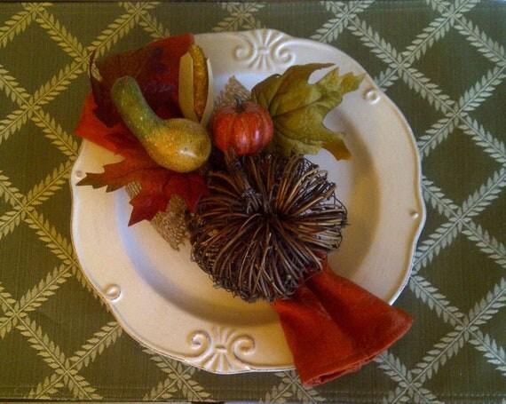 Thanksgiving Napkin Ring Holder Set of Four Rustc Fall Pumpkin Gourd Autumn Centerpiece Floral Arrangement Home Decor