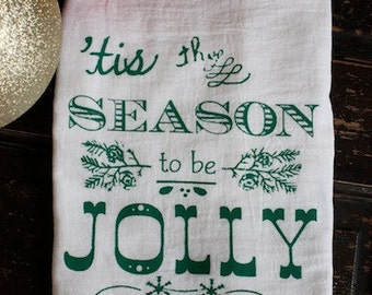 Christmas Towels-Tea Towels-Kitchen Towels-Flour Sack Towels-JOLLY-Dish Towel- Vintage Christmas Decoration-Tea Towel-Hostess Gift-For Her-