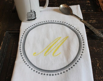 3 Custom Monogram Kitchen Towels - Flour Sack -Tea Towel -  Monogram & Dots -  Kitchen Dish Cloth