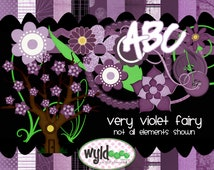 """Fairy Digital Scrapbooking Kit """"Very Violet Fairy"""""""