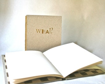 Handbound Blank Book With Humorous Stamped Hardcover for Writing Sketching Drawing