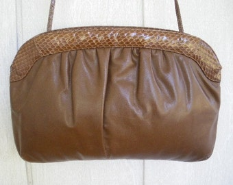 vintage 70s morris moskowitz toffee leather snakeskin purse bag clutch large